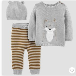 NWT Fox Baby Boy knitted outfit set (3-pcs)